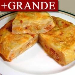 Tortilla de Patatas Rellena de Gambas y Salsa Rosa +GRANDE