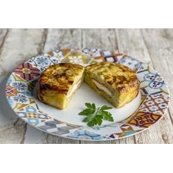 Tortilla de Patatas Rellena de Jamón York y Queso cremoso