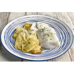Merluza al horno con Patatas Panaderas